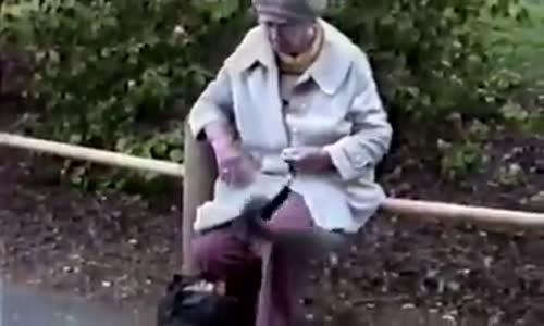 Баба в парка с катеричките